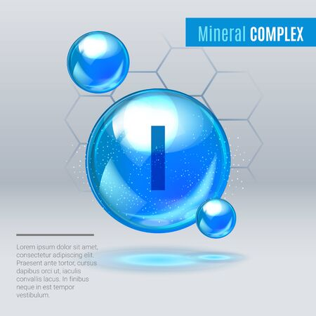 Mineral I iodine, iodum blue shining pill capsule icon . Mineral Vitamin complex with Chemical formula . Shining cyan substance drop. Meds for heath ads. Vector illustration. Illustration