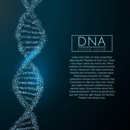 Blue DNA sequence glitter shiny vector illustration. Science molecule structure backgroundbackground. Vector eps10 Ilustración de vector