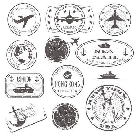 International travelpost delivery departure stamps vector set. New York, hong kong and port, airplane, sea ship cpver mail by ship or boat illustration