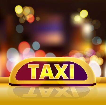 Yellow taxi sign on the roof of car in a city street. New York taxi car at night. Luminous neon taxi sign on bokeh big city background. Vector illustration. EPS 10.