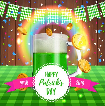 Happy Saint Patrick day. Leprechaun 3D green beer mug on the table with gold coins and lucky rainbow. Traditional Northern Ireland celtic patricks poster for bar, beer fest. Vector illustration. Vektorgrafik