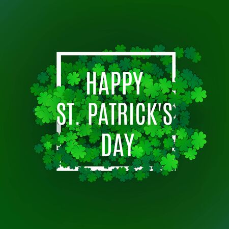 St. Patricks greeting card. Green Clover symbol of lucky patrick. Vector Illustration.