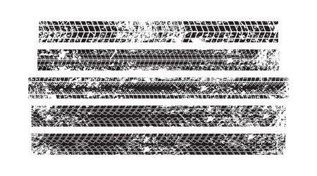 Vector stock wheel grunge tire tracks background design. Vector stock illustration of trace of tires silhouettes. Ilustração