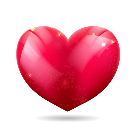 Vector illustration of a red gloss 3D heart - Isolated. Eps 10.