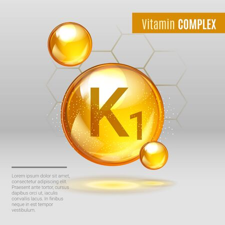 Vitamin K1 gold shining pill capsule icon . Vitamin complex with Chemical formula, Phylloquinone, menaquinones. Shining golden substance drop. Meds for heath ads. Vector illustration.