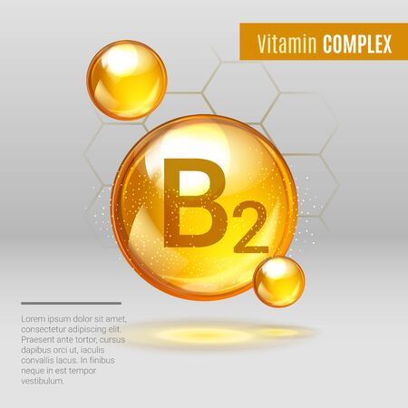 Vitamin B 2 gold shining pill capcule icon . Vitamin complex with Chemical formula, group B, Riboflavin. Shining golden substance drop. Meds for heath ads. Vector illustration.