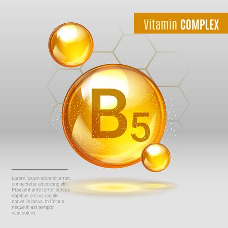 Vitamin B5 gold shining pill capcule icon . Vitamin complex with Chemical formula, group B, Pantothenic acid. Shining golden substance drop. Meds for heath ads. Vector illustration. Иллюстрация