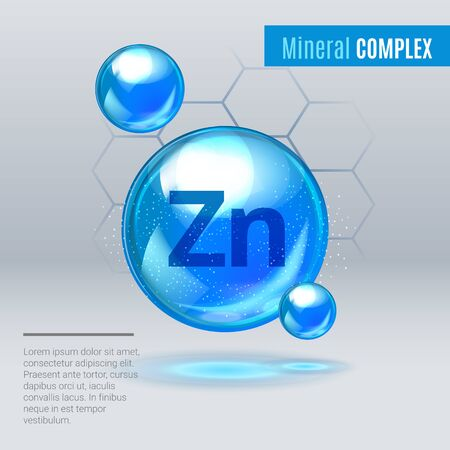 Mineral Zn Zink blue shining pill capcule icon . Mineral Vitamin complex with Chemical formula . Shining cyan substance drop. Meds for heath ads. Vector illustration. Vektorgrafik