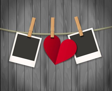 Two photo frames and heart for valentines day hanging on rope on the wood background. Vector illustration. Ilustracja