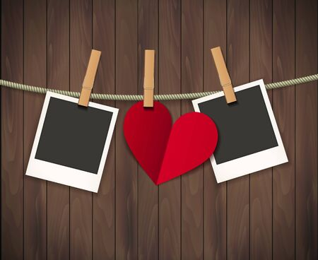 Two photo frames and heart for valentines day hanging on rope on the wood background. Vector illustration. Ilustrace