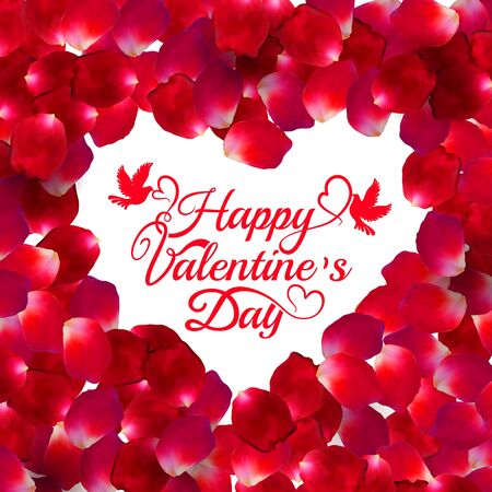 Red rose vector petal heart shape square frame isolated on white background. Greeting card Happy Valentines Day. Eps 10. 向量圖像