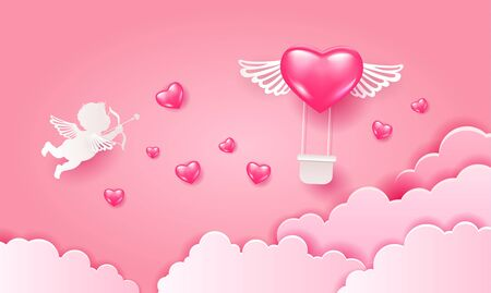 Love Invitation card Valentine's day air balloon heart, aerostat pink heart with wings on abstract pink sky background, clouds,cupid, love paper cut. Vector illustration. Ilustracja