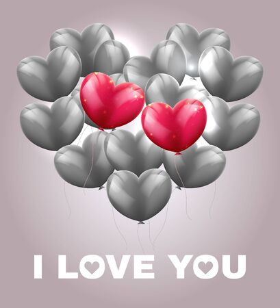 Heart made of grey balloons with two red balloons, I love you , greeting valentine card. Ilustracja