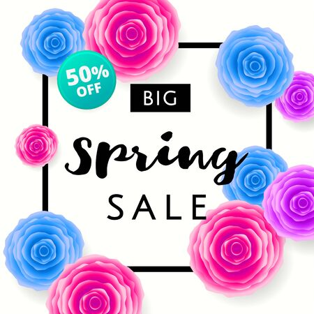 Big Spring Sale with colorful roses and black frame on white background. Special offer. Web banner or poster for e-commerce, on-line cosmetics shop, fashion beauty shop, store. Vector illustration.