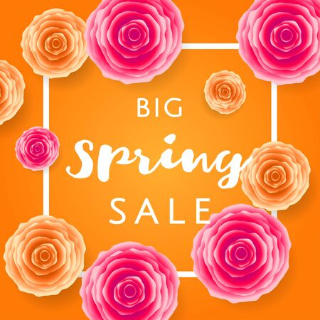 Big Spring Sale with colorful roses and black frame on yellow background. Special offer. Web banner or poster for e-commerce, on-line cosmetics shop, fashion beauty shop, store. Vector illustration. Vettoriali