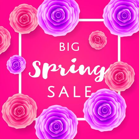 Big Spring Sale with colorful roses and black frame on pink background. Special offer. Web banner or poster for e-commerce, on-line cosmetics shop, fashion beauty shop, store. Vector illustration. Illustration