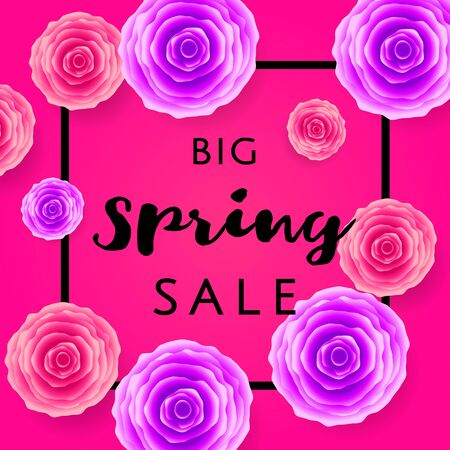 Big Spring Sale with colorful roses and black frame on pink background. Special offer. Web banner or poster for e-commerce, on-line cosmetics shop, fashion beauty shop, store. Vector illustration. Vettoriali