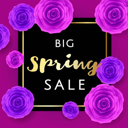 Big Spring Sale with colorful roses and gold and black frame on VIP. rich background. Special offer. Web banner or poster for e-commerce, on-line cosmetics shop, fashion beauty shop, store. Vector. Vettoriali