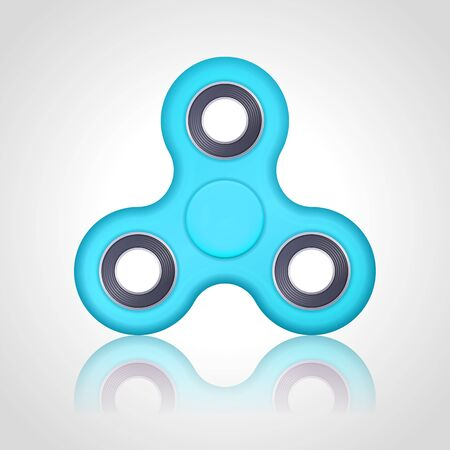 Vector realistic blue turquoise hand fidget spinner toy stress relieving on white background. Anti stress and relaxation fidgets illustration. EPS 10.