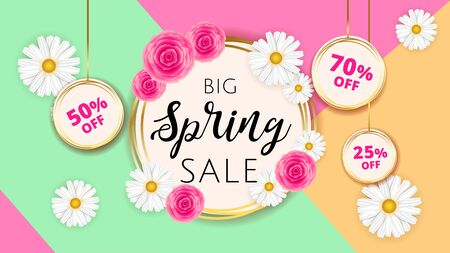 Big Spring sale banner template with camomiles and rose flower on geometric background and gold frame. Spring offer ads for e-commerce, on-line cosmetics shop, fashion beauty shop, store. Vector.