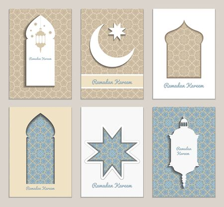 6 universal templates brochure, booklet, card in retro style with arabian patterns. Social media and marketing banners for holy month of Muslim community, Ramadan Kareem celebration or Eid Mubarak.