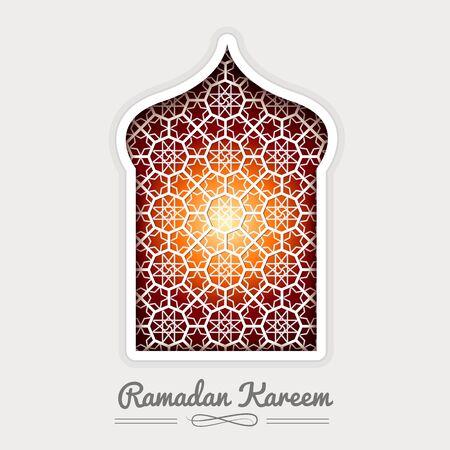 Ramadan Kareem White Mosque window Geometric Pattern. Vector 3D Muslim Paper Graphics. Arabic Islamic pattern arch frame
