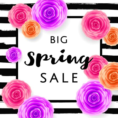 Big Spring Sale with colorful roses and black frame on hand drawn stripes background. Special offer. Web banner or poster for e-commerce, on-line cosmetics shop, fashion beauty shop, store. Vector.