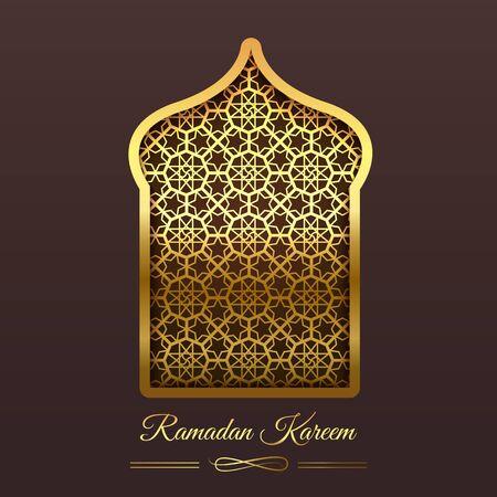 Ramadan Kareem Gold Frame Mosque Window Geometric Pattern.