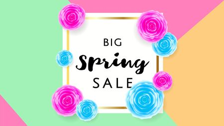 Big Spring Sale Banner with colorful roses flower and frame on triangle background. Special offer. Web banner or poster for e-commerce, on-line cosmetics shop, fashion beauty shop, store. Vector.