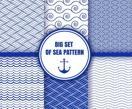 Set of sea and water wavy marine backgrounds in blue and white colors. Sea or ocean theme. Seamless patterns collection. Vector illustration. EPS 10.