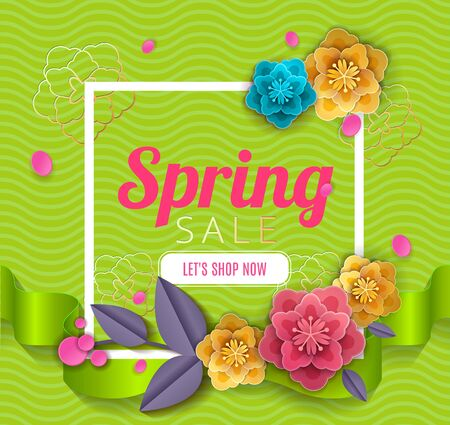 Spring sale blossom flowers with ribbons background cut paper art style for banner, poster, promotion, web site, online shopping, advertising. Vector illustration