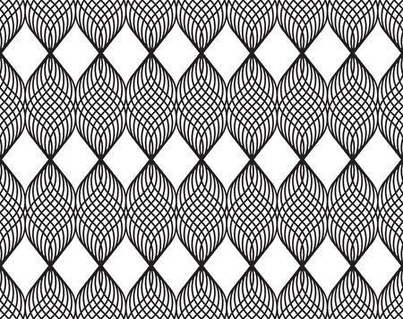 Design Geometric abstract vector seamless with monochrome crossing wale lines pattern. Lace making, weaving yarns. Abstract background. No gradient.