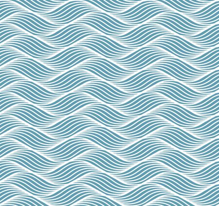 Geometric simple pattern with abstract waves, lines, stripes. A seamless vector background. Blue ocean or sea ornament. Vector illustration. Vettoriali