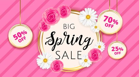 Big Spring sale banner template with camomiles and rose flower on pink stripes background and gold frame. Spring offer ads for e-commerce, on-line cosmetics shop, fashion beauty shop, store. Vector.