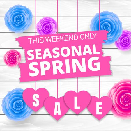 Seasonal spring sale offer, banner template. Blue and purple roses and heart with lettering, isolated on white background. Flowers and Heart sale tags. Shop market poster design. Vector illustration.