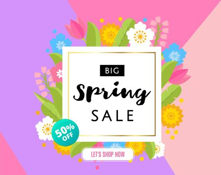 Big Spring Sale Banner with colorful flat flowers and gold frame on triangle background. 50 off, best price. Vector Illustration Vettoriali