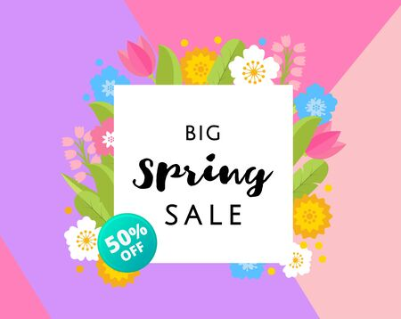 Big Spring Sale Banner with colorful flat flowers and gold frame on triangle background. 50 off, best price. Vector Illustration Illustration