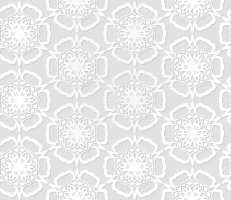 Vector flower pattern. Retro circle spring or summer floral pattern. white background with flowers.