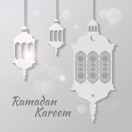 Ramadan Kareem Lanterns or Fanous Hanging With white Lights in Islamic Pattern Background for the Holy Month Occasion of fasting. Editable Vector Illustration.