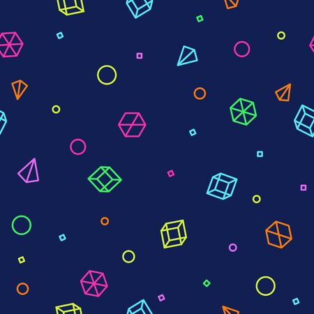 Neon geometric shape seamless pattern in Memphis Style. Future mathematic pattern. Simple isometric shapes composition. Space colorful colors. Original trendy design. Vector template