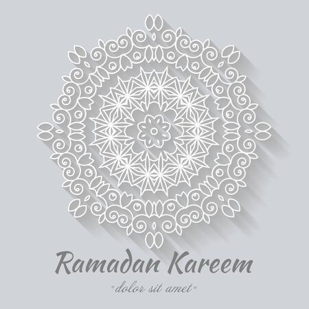 Ornamental round lace, circle ornament abstract, Islamic white ornament paper plant shade, Ramadan, eid al fitr