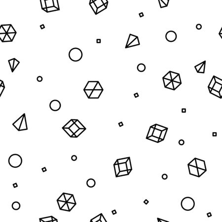 Geometric shape seamless pattern in Memphis Style. Future mathematic pattern. Simple isometric shapes composition. Monochromatic black colors. Original trendy design. Vector template