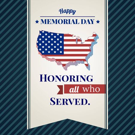 Memorial day card with map USA and blue background. vector illustration Vettoriali
