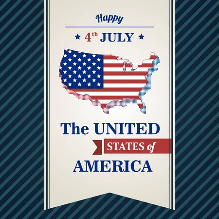 The fourth of July, American Independence Day background, Independence day card with map USA and blue background. vector illustration.