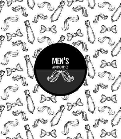 Ink black hand drawn seamless with mans accessories : bow tie,tie, mustache, hipster, mens fashion and style, pattern father day Mustache, Pattern mens attributes Texture. Vettoriali