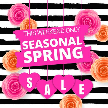 Seasonal spring sale offer, banner template. Blue and purple roses and heart with lettering, isolated on white stripes background. Flowers and Heart sale tags. Shop market poster design. Vector.