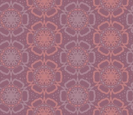 Vector flower pattern. Retro circle spring or summer floral pattern. Red background with flowers. Vettoriali