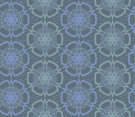 Vector flower pattern. Retro circle spring or summer floral pattern. Blue background with flowers. Illustration