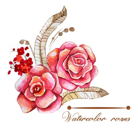 Illustration of flowers, watercolor roses background. EPS10