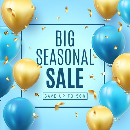 Big Seasonal Final sale text, special offer blue banner celebrate background with gold foil and blue air balloons. Realistic vector stock design for shop and sale banners, grand opening, party flyer